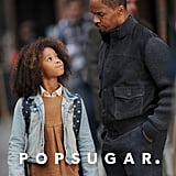 Quvenzhané Wallis and Jamie Foxx filmed on the street.