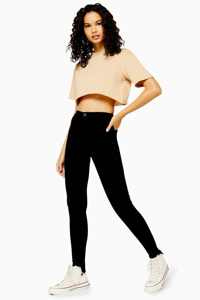 Topshop Black Let Step Hem Joni Jeans