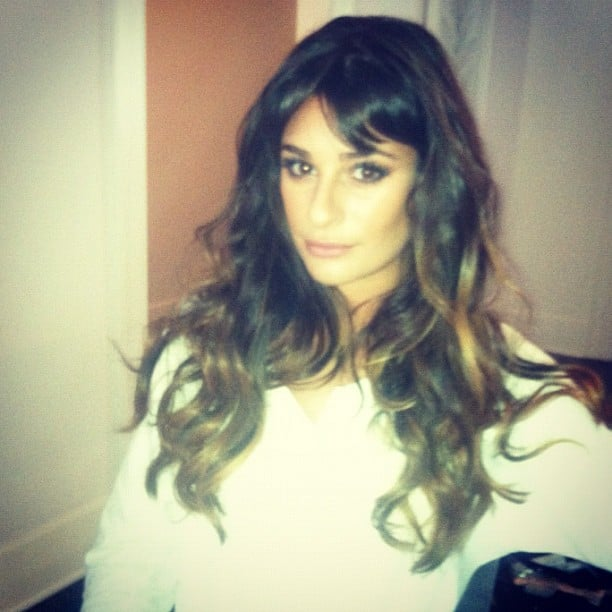 Lea Michele snapped a photo while getting ready for a red carpet event.  Source: Instagram user msleamichele