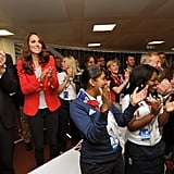 On Friday August 3, Kate Middleton wore a red Zara blazer, polka dot top and black skinny jeans to watch the men's team pursuit in track cycling.
