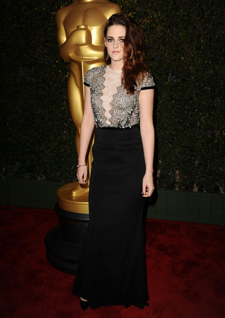 For an awards ceremony in December, Kristen chose a lace- and sequin-embellished Talbot Runhof gown and finished it off with classic black pumps and a dainty Cartier bracelet.