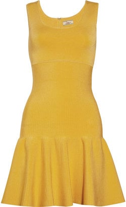 Pair this mellow yellow dress with cream blazer and ankle boot for day, and with metallic sandals for a night out on the town.  Issa Flared Ribbed Dress ($600)