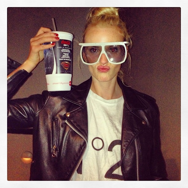 Anne V. showed off her 3D glasses and super-sized soft drink during a night at the movies. Source: Instagram user annev_official