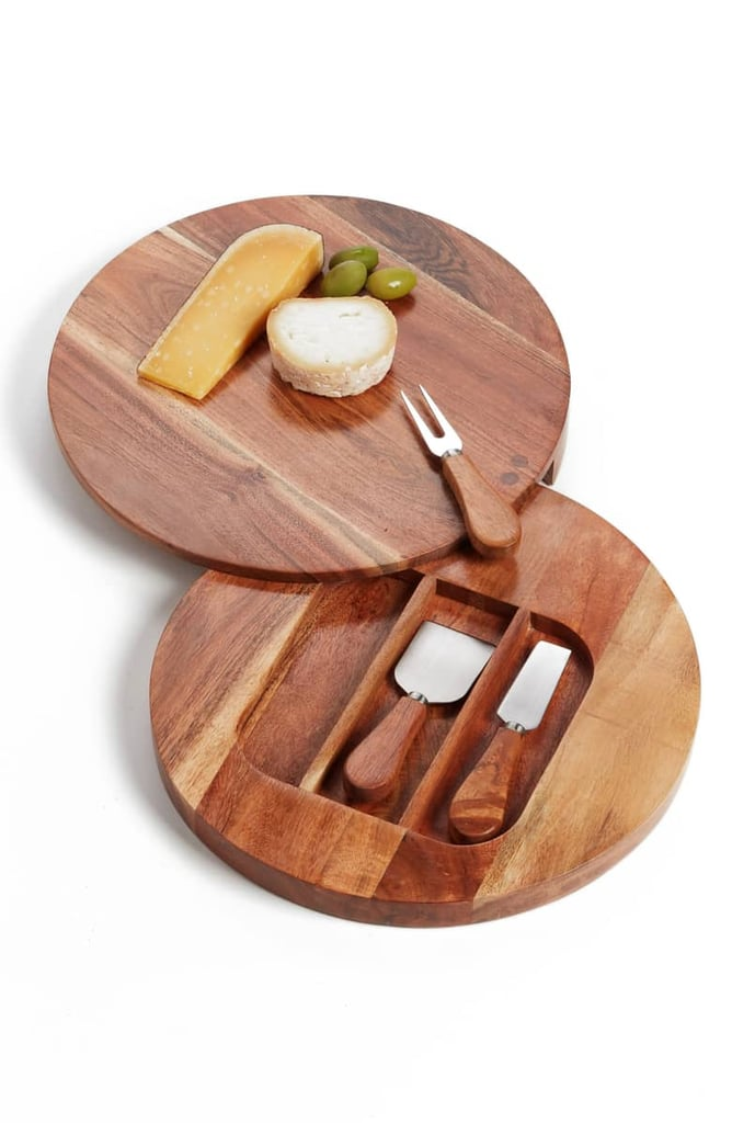 Acacia Wood Cheese Board & Cheese Knives