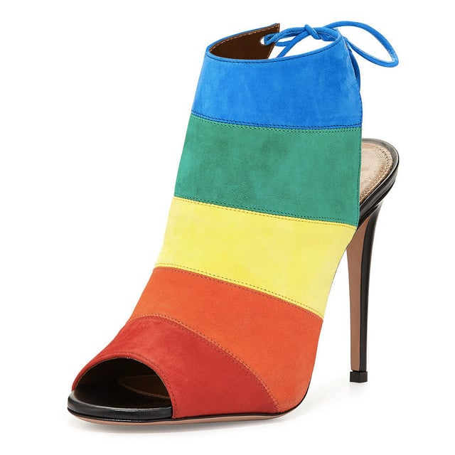 Aquazzura Rainbow Striped Suede Sandal ($695)