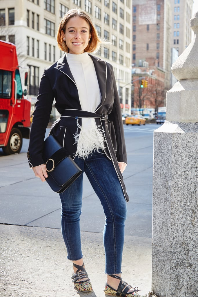 On Editor Sarah Wasilak: Karen Millen coatigan, Zara clutch, H&M jeans, Miu Miu shoes, and sweater editor's own