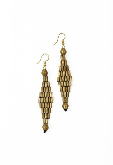 These macramé-style earrings were handmade from melted bullet casings and recycled metals by HIV-positive women in Ethiopia as well. Amleset: Macramé Diamond Earrings ($48)