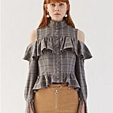 W Concept Frill Detailed Blouse Gray Check