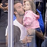 During an LA Kings game in May, David and Harper landed on the Kiss Cam. After seeing themselves on the Jumbotron, David planted a sweet smooch on his little girl.