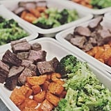 Cubed steak, roasted sweet potatoes, and chopped broccoli.