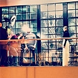Nicole Richie was all about black and white on set. Source: Instagram user nicolerichie