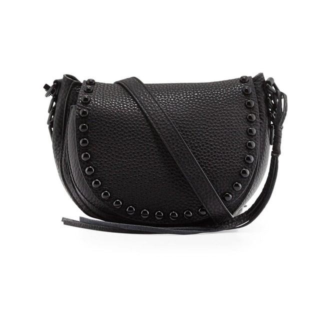 Rebecca Minkoff Pebbled Leather Studded Saddle Bag ($295)