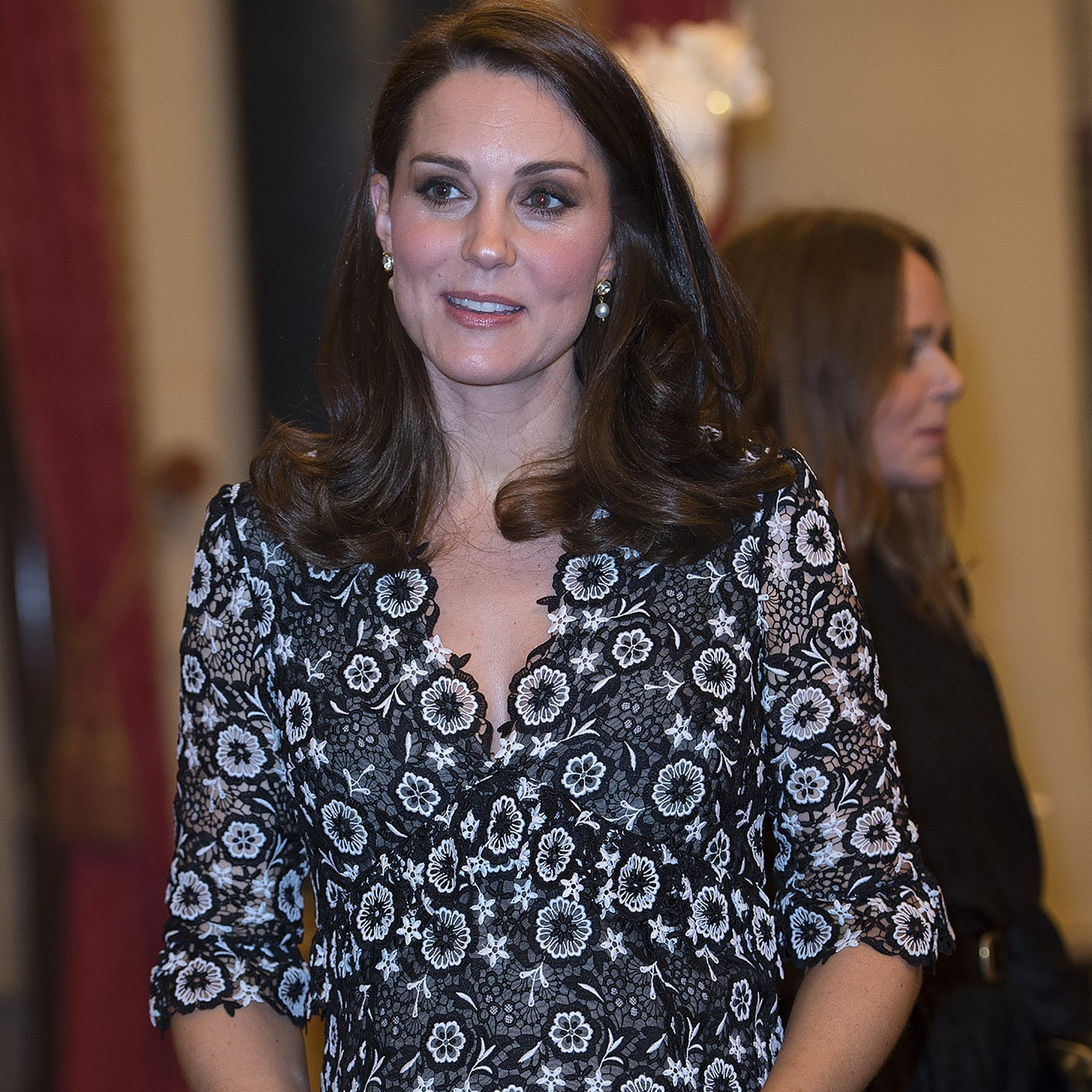 20fa6efe85931 boohoo Plus Dahlia Crochet Lace Ruffle Detail Midi Dress | Kate Middleton  Black and White Floral Erdem Dress | POPSUGAR Fashion UK Photo 15