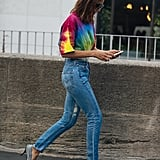 Rule 7: If You're Working a Bright Tee With Light-Wash Denim, Go For Power Pumps
