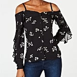 Bar III Floral-Print Off-The-Shoulder Top