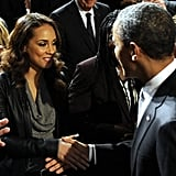In December 2011, President Obama shook hands with Alicia Keys at a World AIDS Day event in Washington DC.