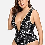 Romwe Plus V-Plunge Marble Print Swimsuit