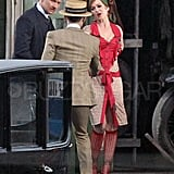 Isla Fisher as Myrtle Wilson, Tobey Maguire as Nick Carraway, and Joel Edgerton as Tom Buchanan on the set of The Great Gatsby.