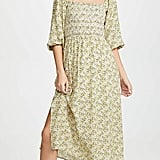 Wayf Nevah Smocked Midi Dress