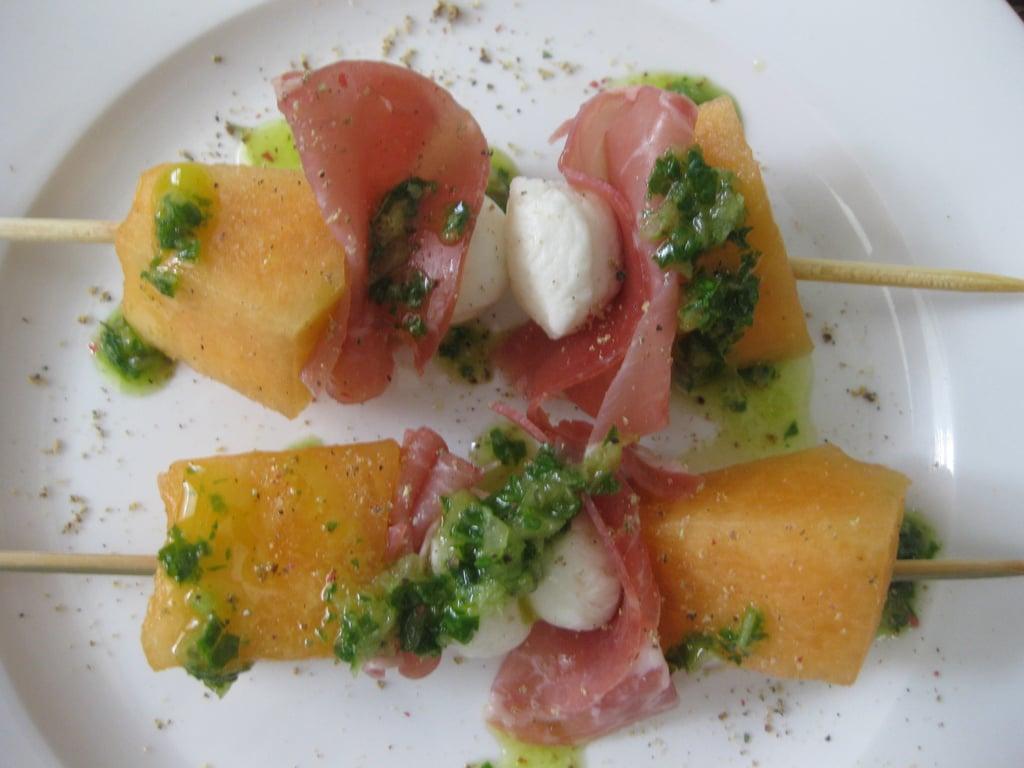 Brochettes of Melon, Prosciutto, and Fresh Mozzarella