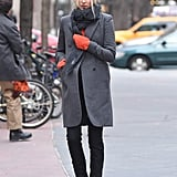 Elsa Hosk pulled the sleeves of her jumper over her hands on a cold December day in NYC.