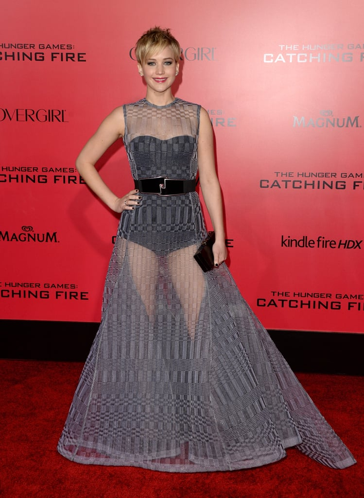 Jennifer Lawrence was sheer perfection — quite literally — in a gray Dior Haute Couture leotard and printed A-line overlay with Brian Atwood platform sandals.