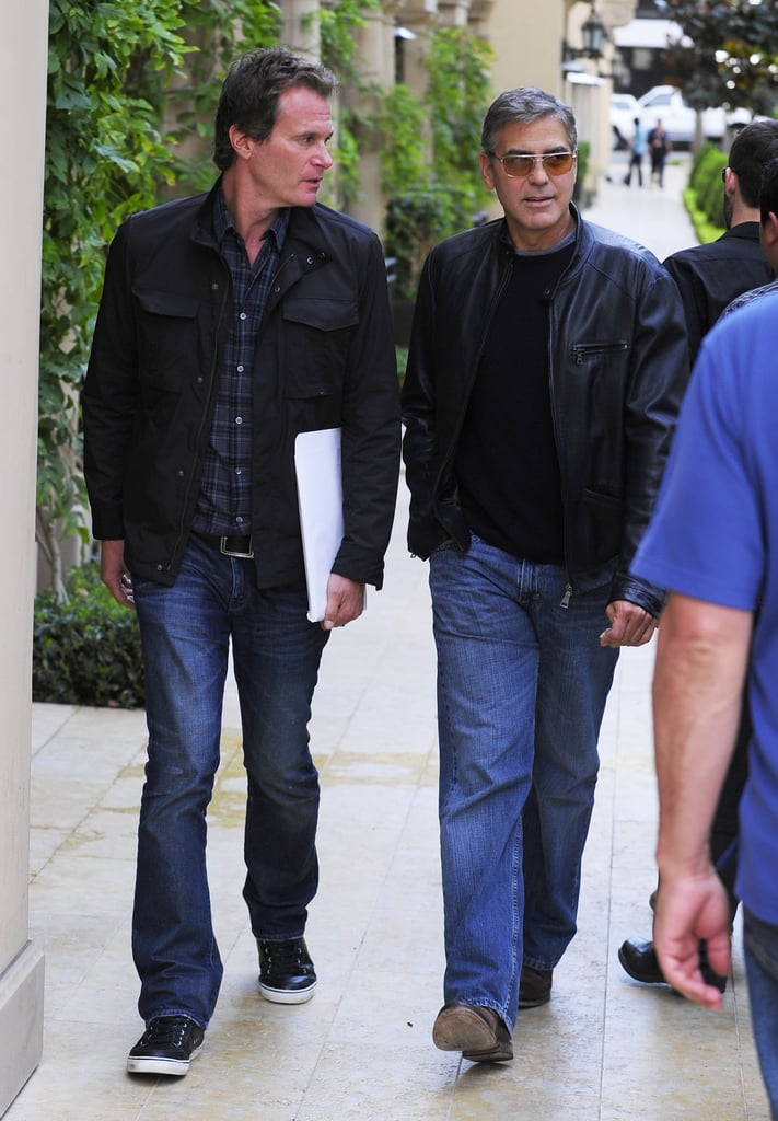 George Clooney met up with pal Rande Gerber for lunch at Bouchon Bistro in Beverly Hills yesterday. Their guys' lunch came just ahead of George's big Argo debut, which he spent the week promoting in the Big Apple. As one of the producers behind Ben Affleck's third directorial project, George stepped out with Ben for the film's NYC premiere on Wednesday. George's girlfriend, Stacy Keibler, also made the trek to the East Coast, joining him for a dinner date with Bill Murray at Il Mulino earlier in the week. Ben and George's latest collaboration hits theaters today and stars Bryan Cranston, Tate Donovan, and Scoot McNairy.