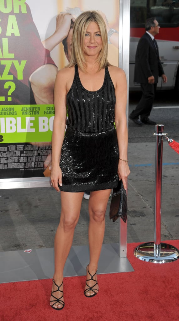 Jennifer Aniston wore an ultra-embellished LBD — with a sporty racerback twist — at the Horrible Bosses premiere in 2011.