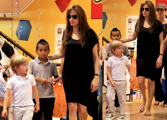 Angelina Jolie Shopping with Maddox and Shiloh