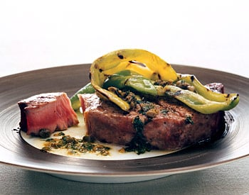 Sunday BBQ: Grilled Tuna and Peppers with Caper Vinaigrette