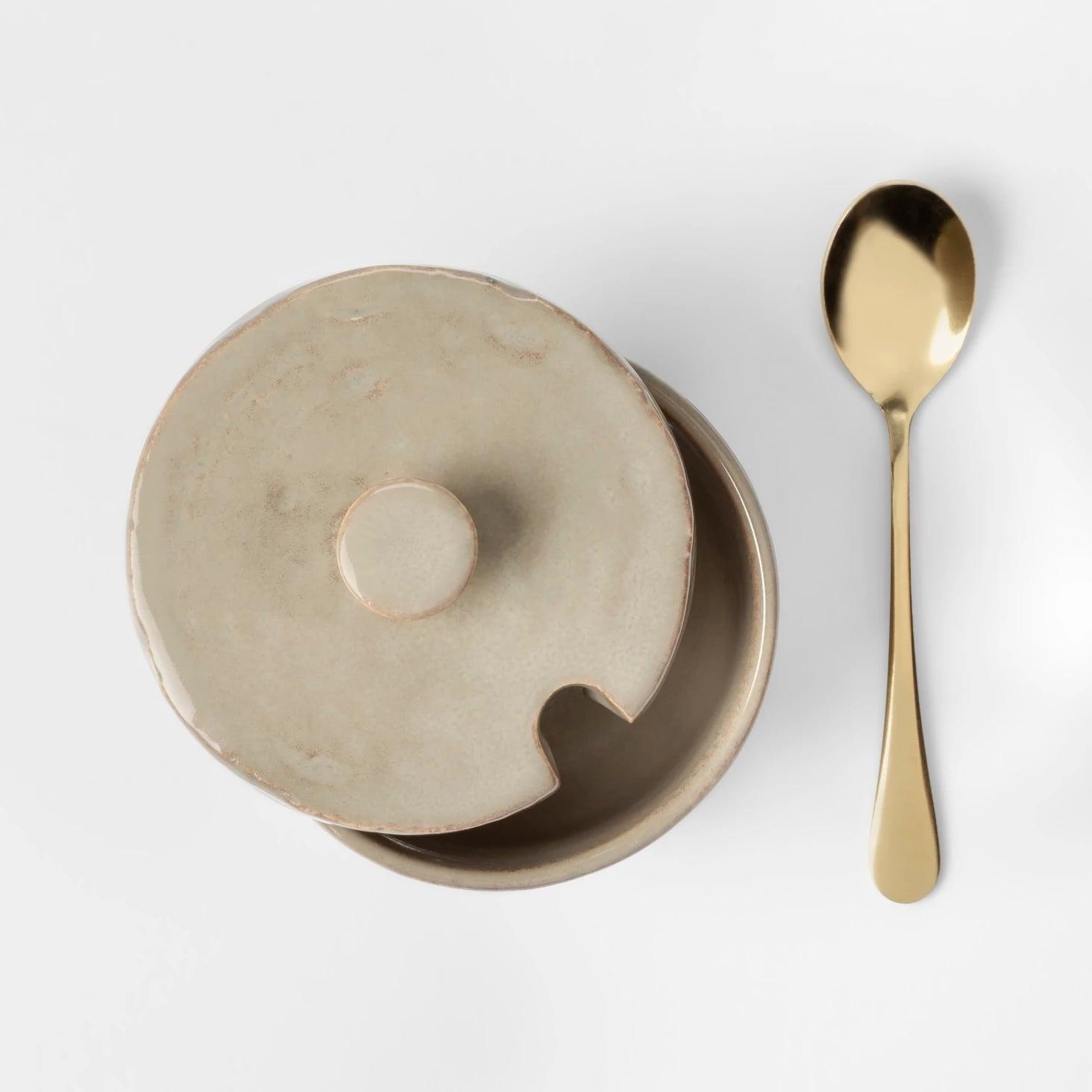 Cravings By Chrissy Teigen Tan Gray Stoneware Sugar Bowl-No Spoon