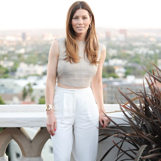 Jessica Biel High-Waisted Pants and Crop Top Outfit