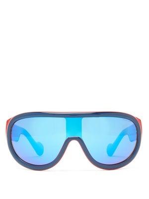 Moncler Flat-Top Mirrored-Lens Ski Sunglasses