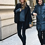 Gisele Bündchen walked in NYC with a friend on Monday.