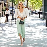 Style White Heels With a Puff-Sleeve Top