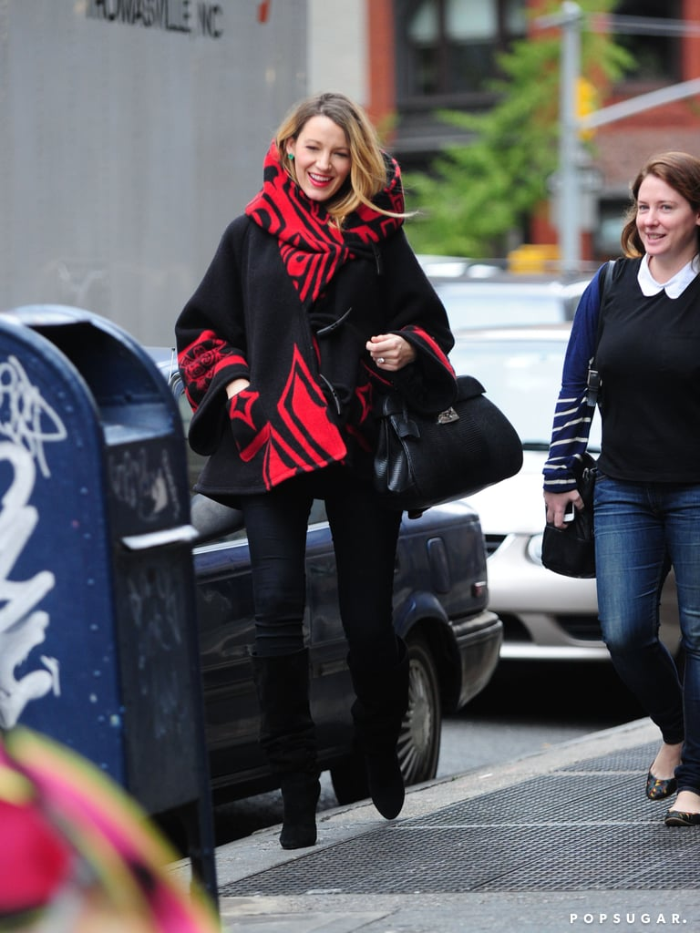 Blake Lively masked her baby bump with a colorful coat when she ran errands around NYC on Monday. The expecting actress is clearly taking style cues from her new web venture, Preserve, as the roomy jacket by designer Lindsey Thornburg is currently featured on the website. Despite her bump-covering outfit choice on Monday, Blake wasn't hiding her growing belly when she attended the Angel Ball in the Big Apple in October. One thing is for sure: Blake continues to push the style envelope during her pregnancy! Keep reading for more snaps from her day out in NYC.