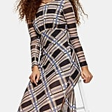 Topshop Check Print Long-Sleeve Midi Dress