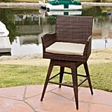 Braxton Wicker Swivel Patio Bar Stool With Cushion