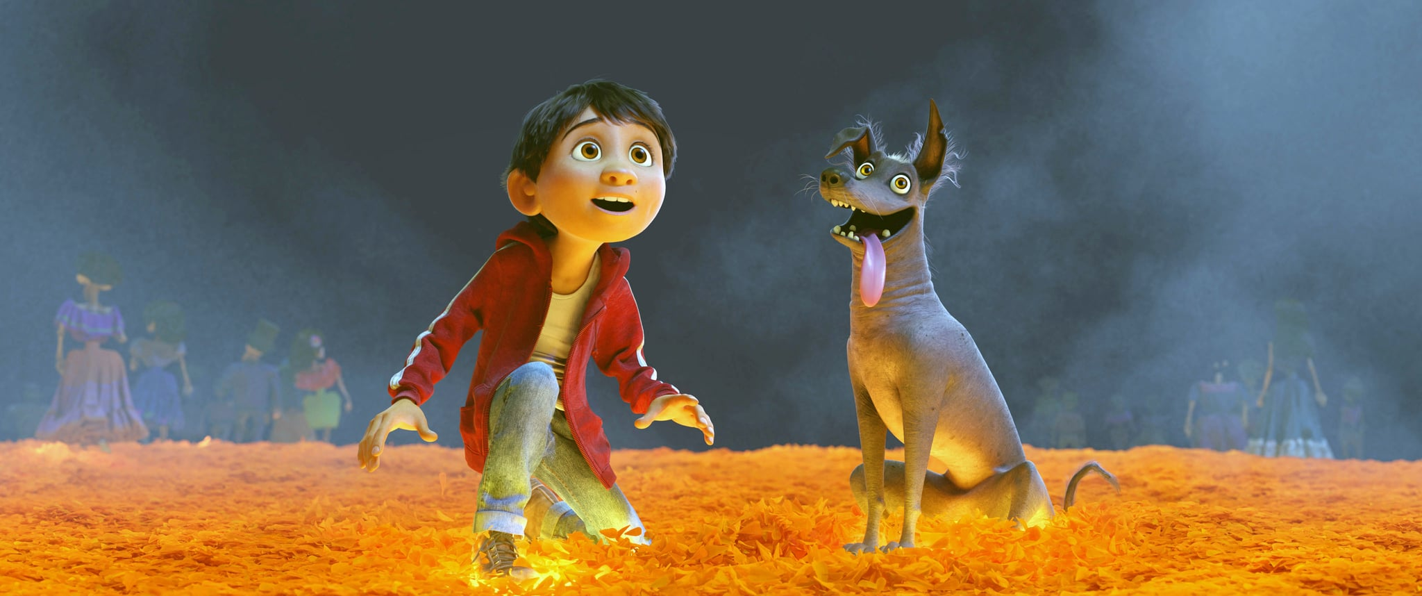 COCO, from left: Miguel (voice: Anthony Gonzalez), Dante, 2017.  Walt Disney Studios Motion Pictures /Courtesy Everett Collection