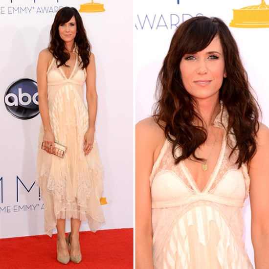 Pictures of Kristen Wiig in Cream Balengiaga Dress at the 2012 Emmy Awards