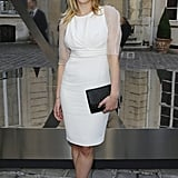 Scarlett Johansson donned a white Dior dress at the Tod's Party for Paris Fashion Week.