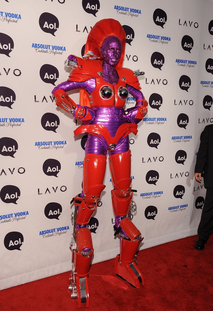 Heidi Klum topped herself with an ultra-tall robot costume at her 2010 costume party in NYC.