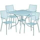 Flash Furniture Square Steel Patio Table Set