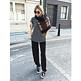 You can bring major oomph to your supersoft tee and a pair of sweatpants with a statement scarf and chunky platforms.