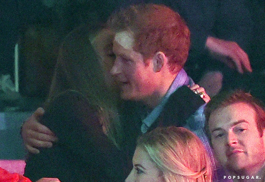 """Prince Harry and his girlfriend, Cressida Bonas, got cozy at the We Day UK charity event at Wembley Arena on Thursday. Earlier this week, the pair had a dinner date, but the couple's We Day UK outing marked the first time Cressida joined him for an official royal appearance. On the red carpet, Cressida posed for pictures wearing sequined Converse alongside her half sister, Isabella Calthorpe, and Isabella's husband, Sam Branson. Inside, Cressida and Prince Harry sat with a big group of friends and family, which included Prince Harry's cousin Princess Beatrice. During the event, Prince Harry took the stage to speak in front of more than 12,000 students, joking, """"For those of you who were expecting Harry Styles here, I apologize, and no, I am not going to sing."""" He also admitted to feeling nervous on stage before adding, """"Some people do not think it is cool to help others. Personally, I think it is the coolest thing in the world."""" With artists like Jennifer Hudson and Ellie Goulding performing, Cressida let loose and danced in the stands. Also hitting the spotlight were speakers including Malala Yousafzai, Al Gore, Sir Richard Branson, and Clive Owen. Take a look at all the best pictures from Prince Harry and Cressida's night out."""