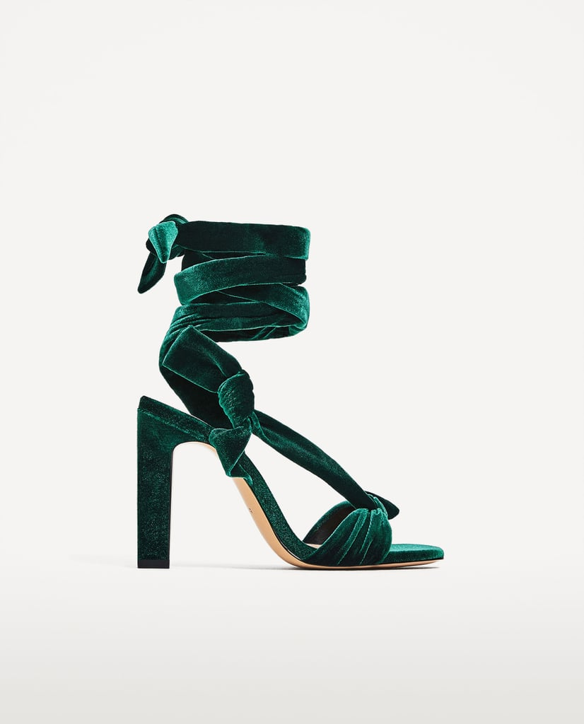 Get your hands on the fabric of the season, crushed velvet, with Zara's Lace-Up High Heel Sandals ($50)