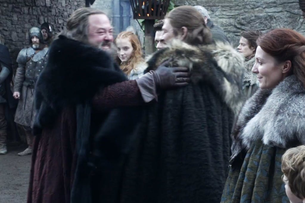First, he hugs Ned.