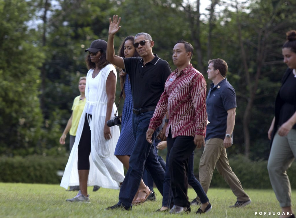 Michelle Obama Wearing White Caftan