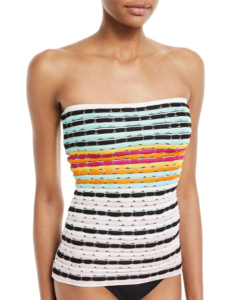 1a497180a0c Missoni Mare Strapless Striped Knit Swim Top | Demi Lovato Striped ...