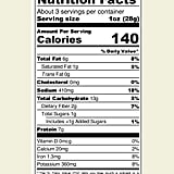 Nutrition Facts For Biena Baked Chickpea Puffs in Vegan Ranch
